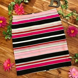 Talbots Skirt size 10 Petite Pink Black Stripes
